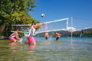Clemens Doppler and Alexander Horst of Austria and Alexander Brouwer and Robert Meeuwsen of the Netherlands play at the famous Cap Walterskirchen prior the A1 Major Klagenfurt, part of the Swatch Beach Volleyball Major Series on July 29, 2016.