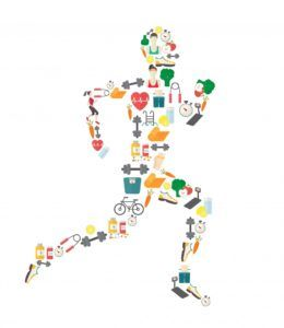 Running man silhouette filled with sport icons.